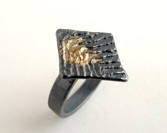 Gold Diamond Ring Oxidized Silver With 18kt Gold Powder Us Size 8 1/4 Gold Ring