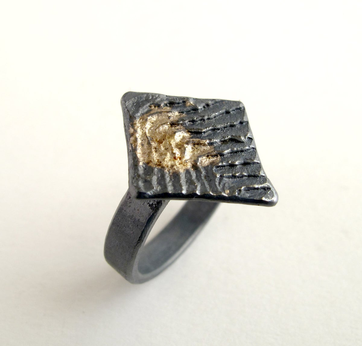 gold ring oxidized silver with 18kt gold powder us