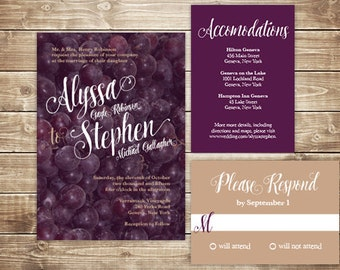 Printable Wedding Invitation Set - Invite, RSVP Card, Info Card - Vineyard Grapes