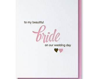 Minimalist Letterpress Wedding Day Card (For Bride) | kiss and punch