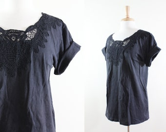Vintage Black Lace Neckline Cotton T-Shirt