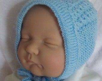 Custom handmade  knit  Princess Charlotte Inspired Blue Hat Bonnet Cap for baby Boy or reborn doll  -Cute baby gift-Photo prop