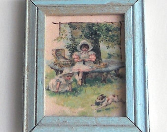 1/12 Scale Shabby Chic Framed Picture Under A Tree