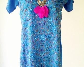 vintage indian dress, indian top, deep blue top, long beaded top, embroidered dress, deep blue dress