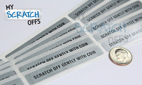 """Scratch Off 100 Silver Rectangle PIN 3/8"""" x 2 1/2"""" with Text scratch-off labels stickers for DIY games promotions gift cards"""