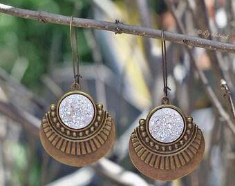 Boho Faux Druzy and Bronze Dangle Earrings, White Glitter Drops, Sculptural, Tribal