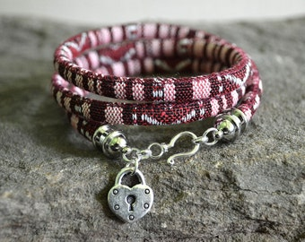 Maroon Stripe Boho Cotton Cord Wrap Bracelet