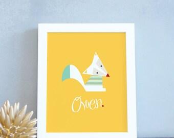 Woodland Nursery Decor Personalized Fox Art Print Baby Name Decor Yellow White Fox Poster 8x10 16x20 White Frame Modern. Custom Fox Print