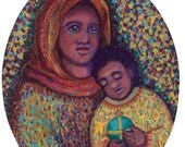 Madonna and Child - Oval - African - Black Madonna - Mary and Jesus Print - Catholic Art