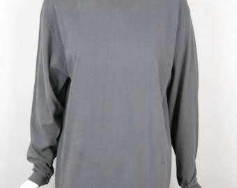 Vintage Gray Distressed Faded Turtleneck Cotton