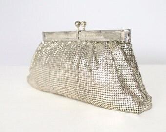 Vintage Glomesh Evening Bag Silver Mesh Purse Shoulder Metalic Handbag