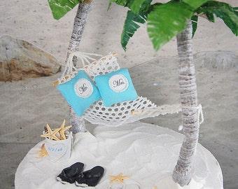 Honeymoon Hammock Destination Wedding Cake Topper With Artisan Palm Trees, Custom Flip Flops, And More