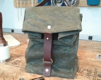 Olive Green Waxed Canvas, Cordura, and Wickett & Craig Leather Insulated Lunch Bag
