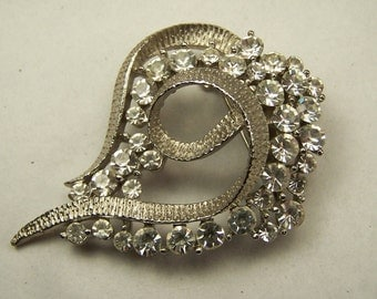 Vintage 1960's Clear Rhinestone Silver Metal Abstract Brooch Pin, Wedding Bridal Costume Jewelry, Great for a Jeweled Bouquet, Statement