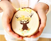 Ring Bearer Pillow - reuse as Christmas ornament - Wedding ring pillow, Deer theme, Wedding Ceremony- Wood