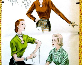 1950s  Vogue Pattern 7493    - BEAUTIFUL Sophisticated Ladies' Tuck-in Blouses    //  Bust 36 * Size 18 * FACTORY FOLDED