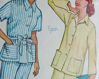 Vintage 1950's McCalls  Pattern 9655 - FABULOUS Ladies' Two-Piece Pajamas  - Bust 36