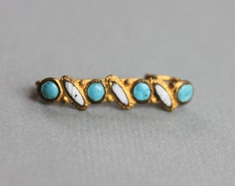 Victorian Turquoise Gilt Lingerie Beauty Pin / Antique Doll Jewelry / Infant Brooch / Bridal Jewelry