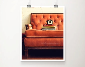 Reading Nook Fine Art Print--Vintage Books Camera Couch Sofa Tufted Antique Peach Pink Brown Velvet Room Home Decor Wholesale