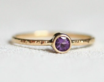 Select a Stone - Delicate Solid 14k Rose or Yellow or White Gold Ring - One Hammered Stacking Ring with Birthstone - Dainty Jewelry