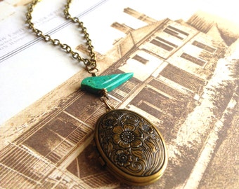 SALE - Vintage Style, Gold Brass Oval Ornate Locket Pendant Necklace, Handcarved Turquoise Gemstone Bird, Antique Gold Brass Photo Locket