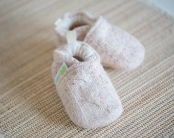 Wool Blush Cables All fabric Soft Sole Baby Shoes   Made to Order