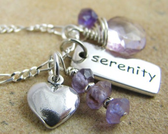 Serenity Charm Necklace, Sobriety Necklace, AA Jewelry, Chakra Necklace, Survivor Necklace, Sterling Silver Charm, Amethyst