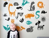 Alphabets Frieze ABC Animals for children playroom baby, nursery wall decal wall sticker- 091
