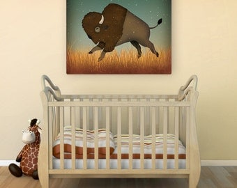 Bison Buffalo Native Graphic Art Stretched Canvas Ready-To-Hang
