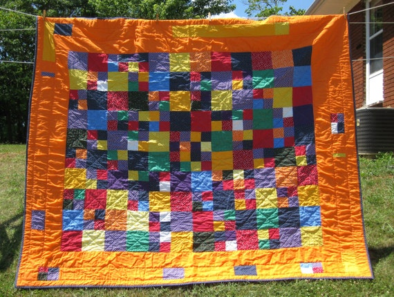Spunky Polka Dot Oversized Full or Queen size Quilt with Orange and Navy Blue Polka Dots Childrens Patchwork Quilt Unisex