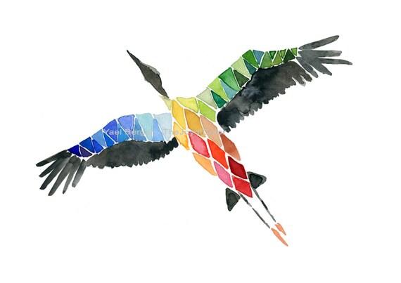 Flying home art print, Stork migration print , geometric  bird, modern stork print, watercolor painting, contemporaty art modern bird art