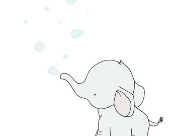 Elephant Nursery Art Print -- Elephant Bubbles