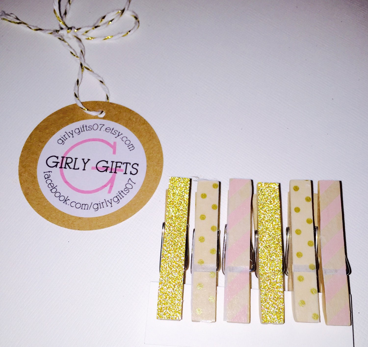 gold pink clothespins baby shower decor bridal by girlygifts07
