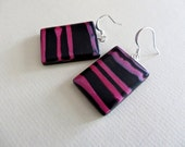 Earrings of Polymer Clay, Black and Pink Earrings, Contempo Earrings, Swirls of color, Gift for Her