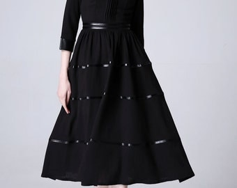 Black linen dress prom dress wedding dress women dress (1174)