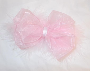 Pink Chiffon Ribbon and Pink Maribou Big Bow hair clip barrette bow infants, toddlers and girls