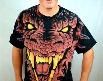 Vintage 90s Scary Evil Snake Dragon All-over-print Tshirt Tee Shirt
