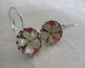 Snowball Bush Blossoms Atop Dorothy's Ruby Red Slippers Red Background Under Glass Crown Leverback Earrings-Symbolizes Purity-Gifts Under 30