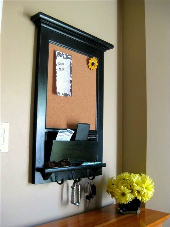 Wall Mail Organizer Furniture Wood Framed Cork Bulletin Board