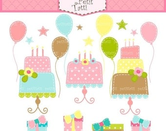 ON SALE birthday clip art, cake clip art, balloons clip art, gift box clip art - instant download Digital clip art, Happy Birthday clip art