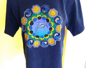 Dolphins Moons Suns and Stars 1990s vintage tee shirt size medium