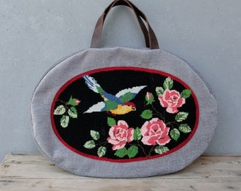 Bohemian Rhapsody Weekender Leather, Vintage Hand Embroidery and Hand woven Linen