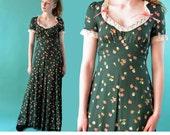 Vintage 70s Dress / Boho Maxi Dress / Empire Waist Romantic Hippie Dress / 1970s Floral Long Maxi Dress / Bohemian Dress XS / S