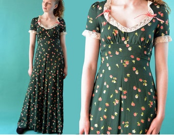 Vintage 70s Dress / Boho Maxi Dress / Empire Waist Romantic Hippie Dress / 1970s Floral Long Maxi Dress / Bohemian Dress XS / S