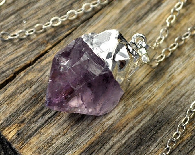 Amethyst Necklace, Amethyst Pendant Necklace, Amethyst Silver Necklace, Raw Amethyst Point Necklace, Sterling Silver Chain