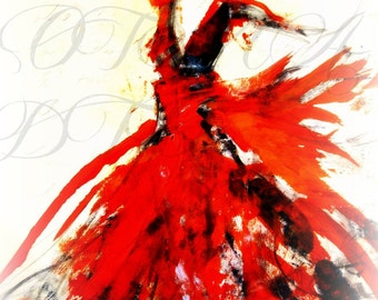 Red Dancer. Beautiful Figurative art by by Ros Webb