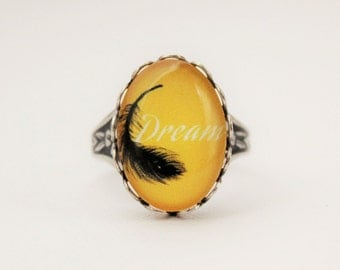 Yellow Dream Ring in Antique Silver. Feather