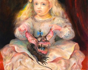 Precious (print) - young girl, monster, pet, puppy, beauty and the beast, artwork, illustration