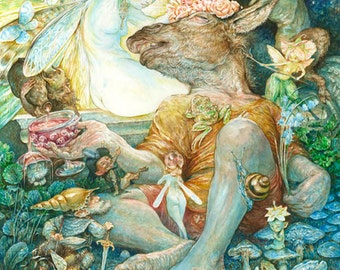 Titania's Bottom (print) midsummer night's dream, Shakespeare, fairy queen, fantasy art