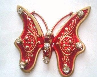 Red  Butterfly Rhinestone  Brooch